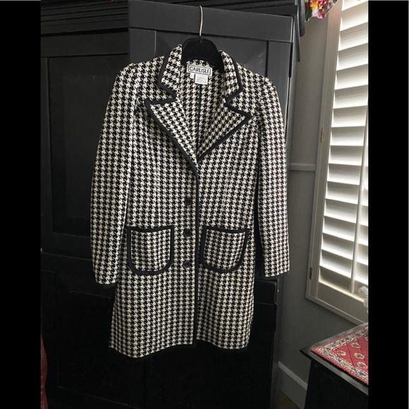 CARLISLE Houndstooth 100% Merino Wool Pea Coat